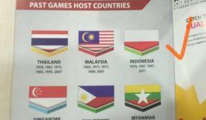 FOTO: Organizatori igara ištampali zastavu Indonezije naopačke