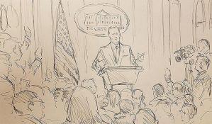 Tramp zabranio kamere na presu, CNN poslao crtača