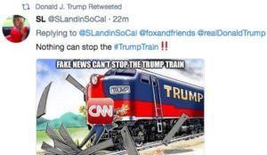 Tramp objavio karikaturu na kojoj voz udara reportera CNN-a