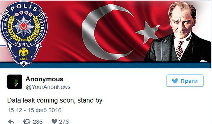 Anonimusi hakovali tajnu policiju Turske