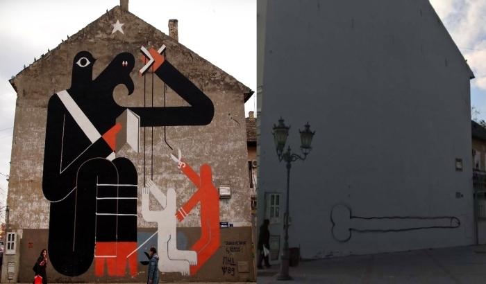 Protest zbog prekrečavanja murala u centru grada