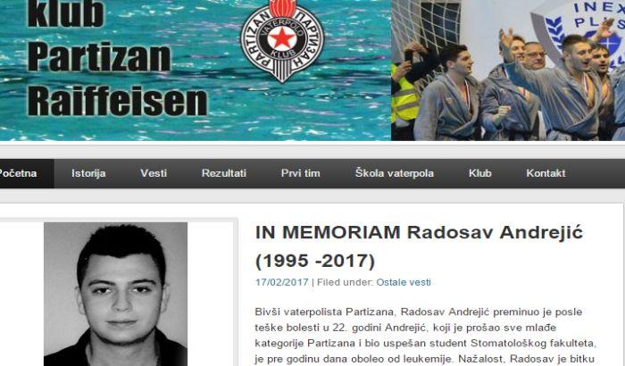 Preminuo bivši vaterpolista Partizana Radosav Andrejić