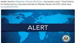 Stejt department: Upozorenje prvog nivoa za Srbiju zbog epidemije boginja