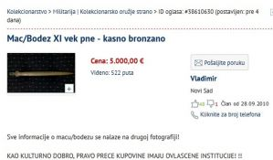 FOTO: Novosađanin preko interneta prodaje arheološko blago Vojvodine