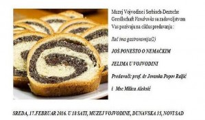 Predavanje o nemačkim jelima u Vojvodini u sredu