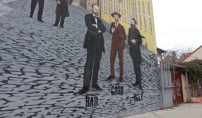 FOTO: Jakšić, Zmaj i Miletić kao Dobar, Loš i Zao na muralu