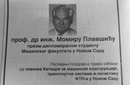 Preminuo prvi diplomirani student Fakulteta tehničkih nauka u Novom Sadu - prof. dr Momir Plavšić