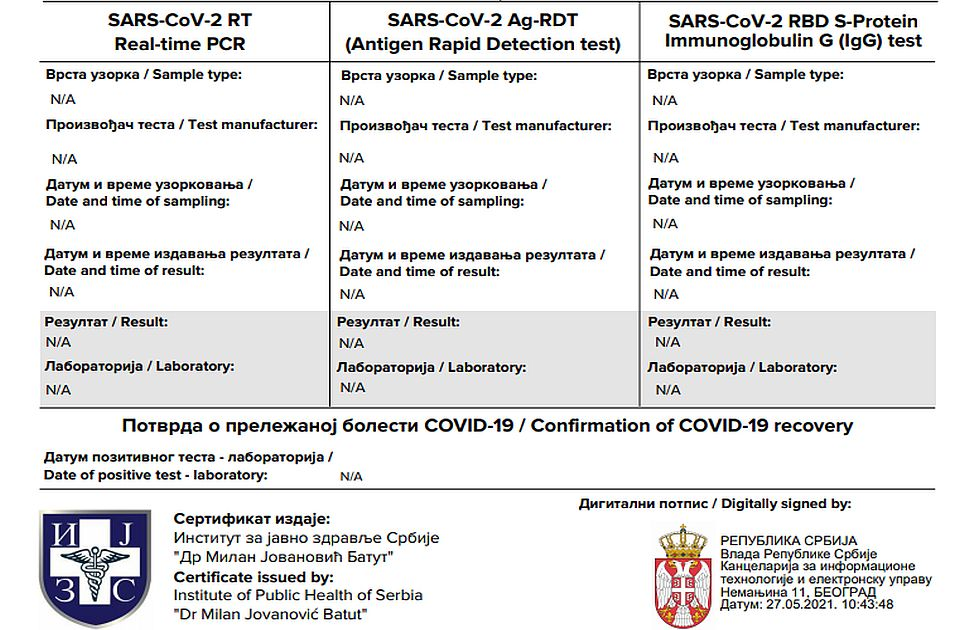 Srbija još radi na usklađivanju digitalnih kovid sertifikata