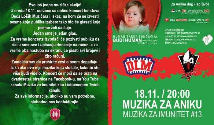 U sredu onlajn koncert za pomoć u lečenju Anike Manić, svi su pozvani