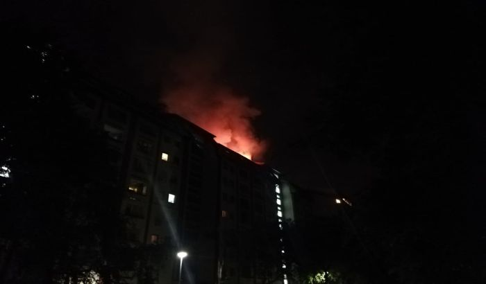 FOTO, VIDEO: Požar u zgradi na Detelinari ugašen rano jutros
