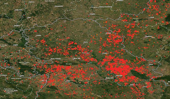 FOTO: Sateliti NASA zabeležili hiljade požara u Vojvodini
