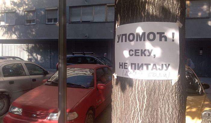 FOTO: Građani protestovali zbog izgradnje zgrade na Bulevaru oslobođenja i uništavanja dečijeg igrališta