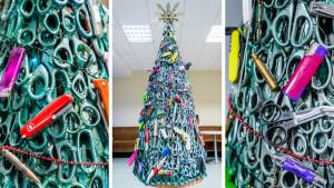 Nova godina i ukrasi: Jelke od makaza, upaljača, jedra, mreža i lopti