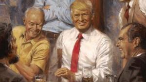 Slika Trampa među bivšim predsednicima okačena u Beloj kući